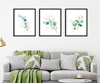 Eucalyptus Botanical Prints Set of 3 Watercolour Green Gold Wall Art Home Decor