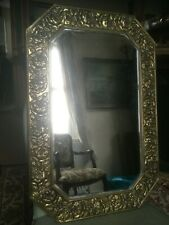 Antique Brass Frame Bevel Edge Arts & Crafts Style Wall Mirror Rose Pattern