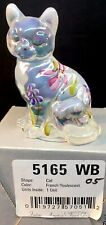 Fenton Art Glass Hand Painted French Opalescent Carnival Cat