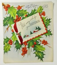 Vintage Christmas Card for Sister Holly Berries Mid Century Holiday Print