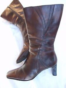 WITTNER BOOTS SIZE 40 LEATHER HARDLY WORN CHOCOLATE MARBLE