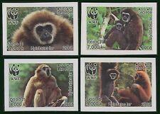 "LAOS N°1682/1685** Non dentelé, Singes ""Gibbon Lar"", 2008 Monkey imperf. set MNH"