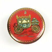 Vtg Grace Storage Tin Container Red Baret Ware Art Round England Carriage