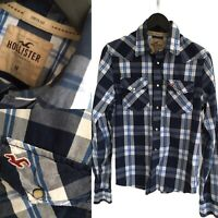 HOLLISTER Mens Navy Blue Long Sleeve Check Plaid Pearl Snap Western Shirt Size M