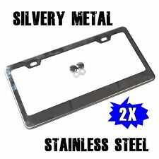 2 Pcs Stainless Steel  Metal License Plate Frames Tag Cover Screw Caps Silver