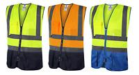 Traega TWC05/06 Hi Vis 2Tone Safety Executive Vest Waistcoat Zip Phone ID Pocket