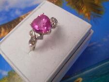 VINTAGE 10K WHITE GOLD 8MM HEART CUT CEYLON PINK SAPPHIRE/DIAMONDS RING SIZE 6