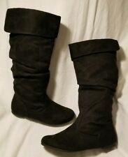 NIB SO Iota Black F Suede Leather Riding Slouch Knee High Low Heel Boots 6.5 $80