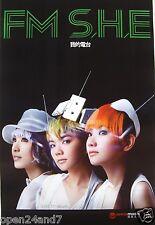 "S.H.E. ""FM"" HONG KONG PROMO POSTER-Ella Chen,Hebe Tien,Selina Jen,Mandopop Music"