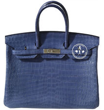 35 HERMES MATTE BLUE BRIGHTON CROCODILE BIRKIN BAG  PALLADIUM  HARDWARE #0104