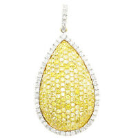 Real 1.29ct Natural Fancy Yellow Diamonds Pendant Necklace 18K Solid Gold