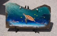 Sea Turtle painted slate with easel tortoise original nautical rock wall art