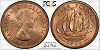 1964 Great Britain 1/2 Penny PCGS MS64 RB (Red-Brown) Top Population Coin
