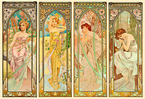 """Alphonse Mucha CANVAS PRINT Times of Day Vintage Art Poster 24""""X16"""" (#2)"""