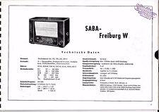 Service Manual-Anleitung für Saba Freiburg W,W4,W10 Baujahr 1950/51