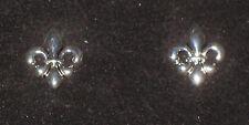 """Fleur de Lis Earrings Silver Tone Pierced Shiny 3/4"""" High New"""