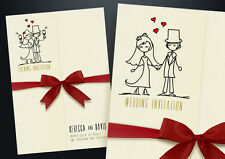 50 Personalizzata Copertina WEDDING DAY AND Evening inviti con Buste