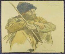 Prefiero serio hombre portät soldado aquarellierte dibujo original 1915-16 #b254s