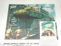1944 General Motors Diesel advertisement, EMD, Sherman tank loading on ship