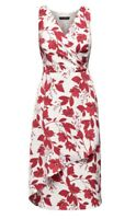 BANANA REPUBLIC FLORAL WRAP-EFFECT MIDI DRESS- RED FLORAL NWT SZ 6 TALL