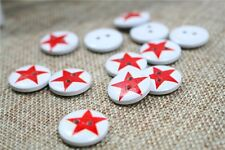 "Lot of 10 RED STAR 2-hole Wood Buttons 3/4"" (18mm) Scrapbook Craft (#192)"