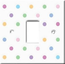Brand New - White with Multi Coloured Polka Dots Light Switch Cover