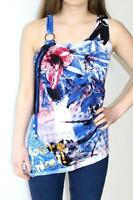 Desigual Green Blue Red Multi Floral Print Vest Top Size Summer Tunic Sleeveless