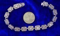 Baguettes Diamond Bracelet Solitaire Look 550 Diamonds 7.50 Ct 10k White Gold