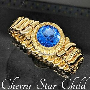 Rolled gold sweetheart expansion bracelet blue stone 1947 by Speidel & sons