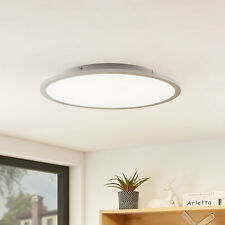 LED-Deckenlampe Narima rund 50 cm silber Küche Flur 4000 K Lindby Arbeitszimmer