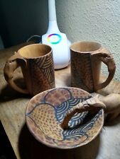 African Hand Carved Elephant Drinking From Bowl Handle And Two Cups