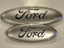 """2011-16 Ford Explorer 9"""" front & 7"""" rear  emblem set,ingot silver black logo"""