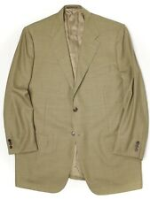 Corneliani Mens Sport Coat 46L Light Green Herringbone Plaid Wool Jacket Italy
