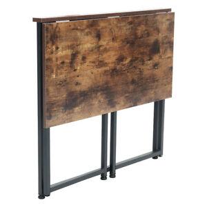 Vintage Brown Wooden Folding Computer Desk Industrial Metal Frame Dining Table