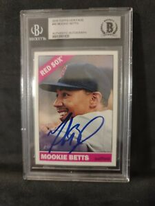 Mookie Betts Autographed 2015 Topps Heritage Baseball Card #45 Beckett Red Sox
