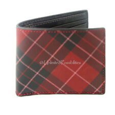 2cd0cfcf321 Fossil Douglas Bifold Genuine Cowhide Leather Mens Wallet Red With Tags