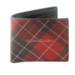 NEW FOSSIL Douglas Bifold Genuine Cowhide Leather Mens Wallet Red With Tags