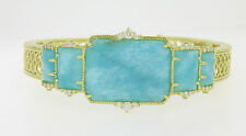 Authentic Judith Ripka Vogue 18k Solid Gold Amazonite and Diamond Cuff Bracelet