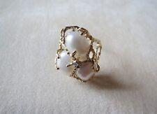 10k Yellow Gold Pearls Diamond Ring 5.88 Grams Size 6.5