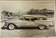 """12 By 18"""" Black & White Picture 1957 Oldsmobile Super 88 Fiesta Wagon at a ranch"""