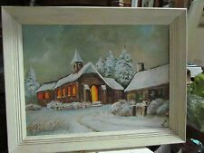 FRAMED OIL ON BOARD IN WHITE WOOD FRAME CHURCH, HOUSE AND SNOW SIGNED RMJ