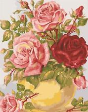 Grafitec imprimé Tapisserie/toile de tapisserie à l'aiguille – Roses jaune Vase