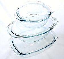 Glas Bräter Set 6 tlg. mit Deckel Auflaufform Glaskochgeschirr Glasbräter Ofen