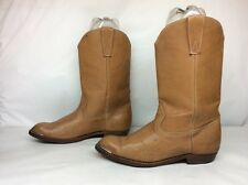 WOMENS UNBRANDED TOE RAND COWBOY LEATHER BROWN BOOTS SIZE 42