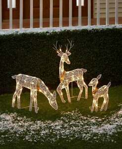 3-Pc. Shimmery Lighted White Deer Family Christmas Metal Outdoor Decorations