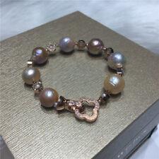 elegant huge 11-12mm south sea baroque pink lavender pearl bracelet 7.5-8inch