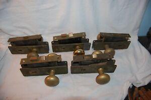 5 Complete Sets Vintage Brass COMMERCIAL  Door  Handles