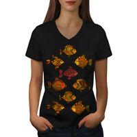 Wellcoda Art Fish Nature Animal Womens V-Neck T-shirt, Gold Graphic Design Tee