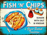 Fish and Chips  Vintage Retro Seaside  Metal Sign CAFE wall Plaque CHIPPY