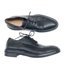 Barneys New York Mens 8 Black Leather Plain Toe Oxfords Bluchers Italy Lace Up